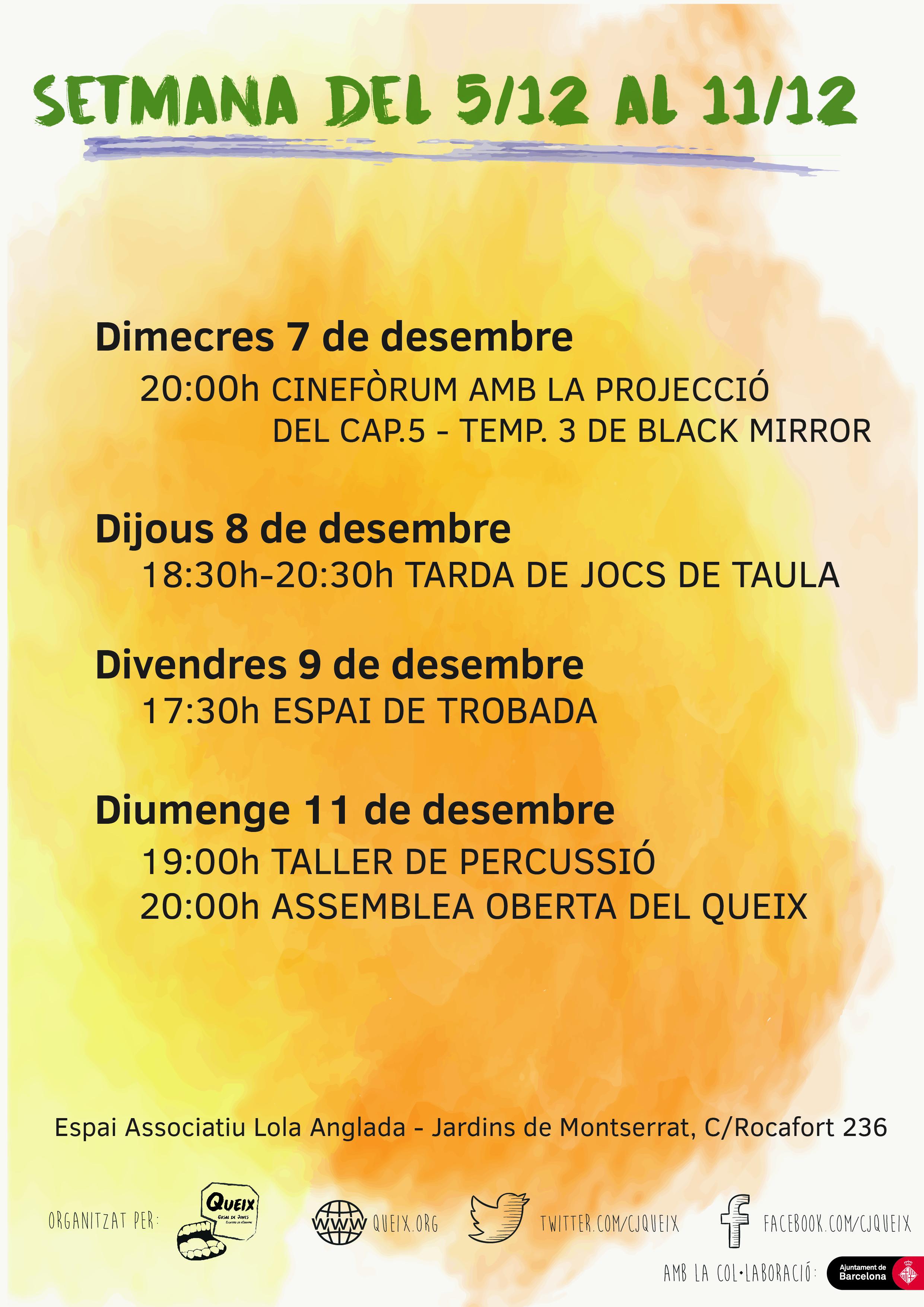 Planning de la setmana del 5/12 a 11/12